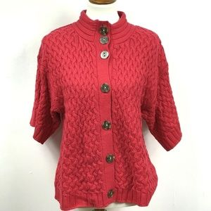 Style&Co Cardigan Red Chunky 3/4 Slv Button Mock